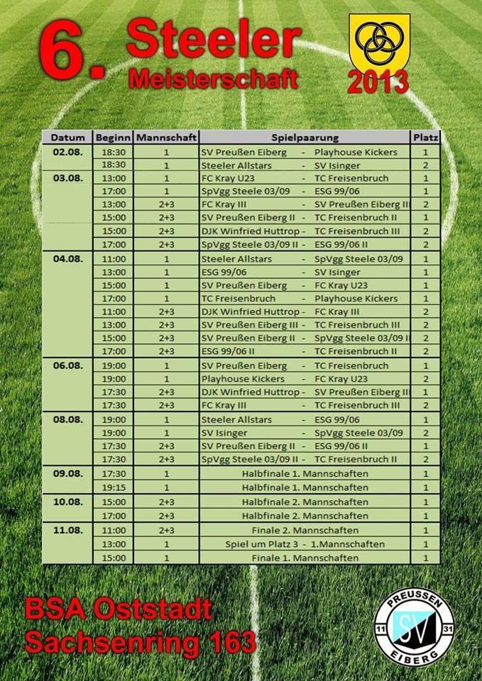 Spielplan 6. Steeler Meisterschaft