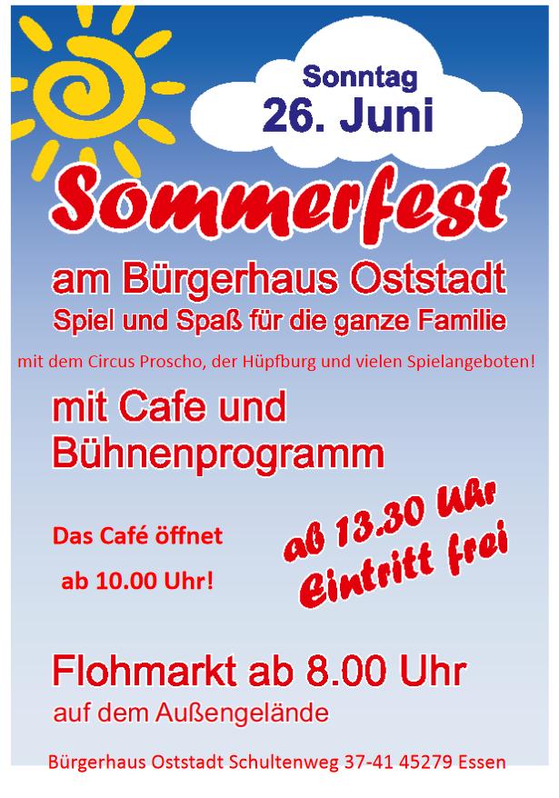 Flyer: Bürgerhaus Oststadt Sommerfest